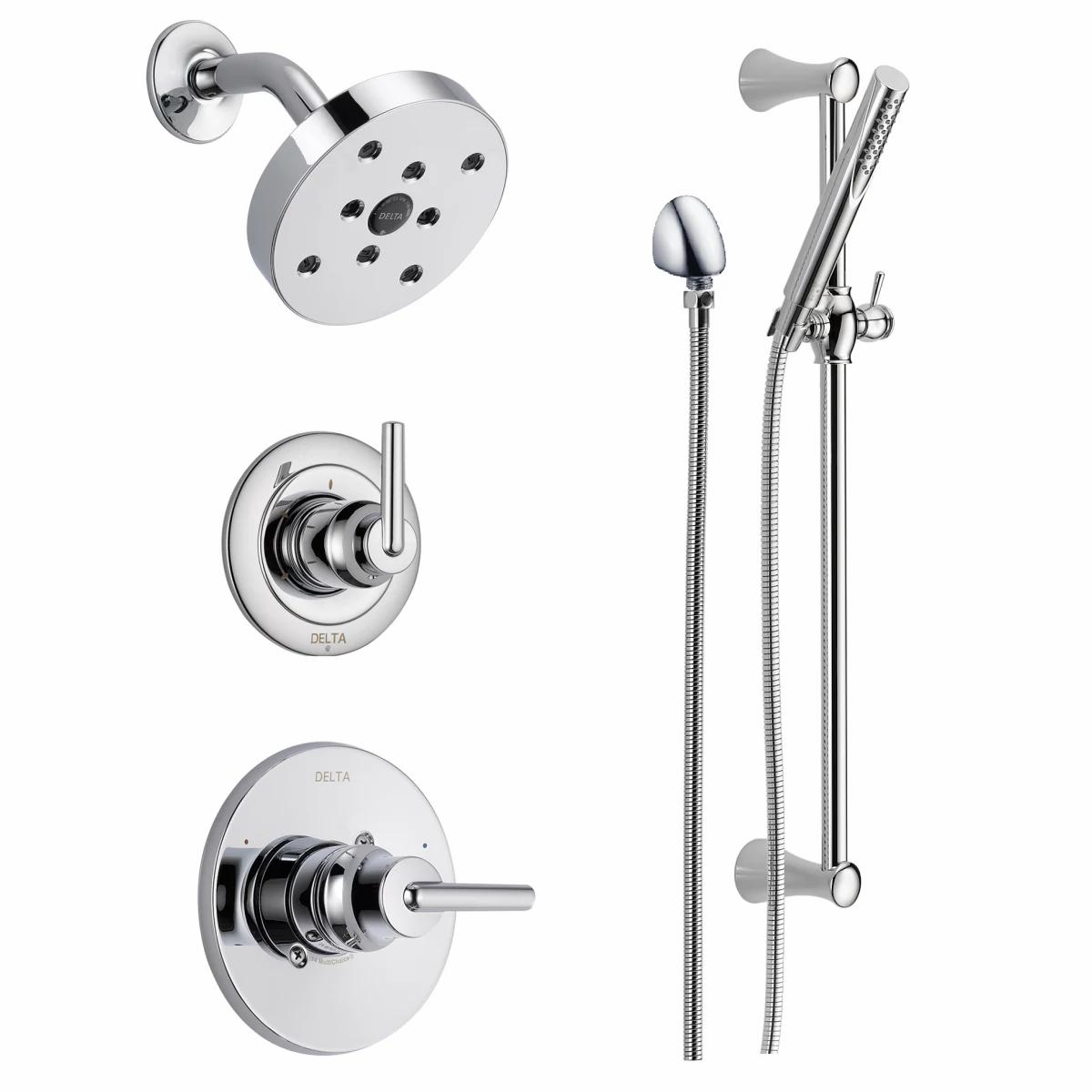מערכת מקלחת שלמה הכוללת - מוט פינוק + צינור + מזלף + ראש ברז + אינטרפוץ ומיקסר וכל החומרה הדרושה להתקנה - גימור כרום גוון אפור