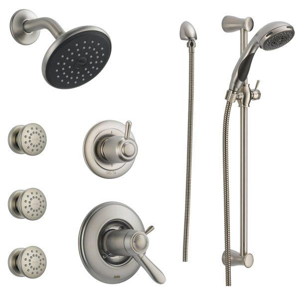 מערכת מקלחת שלמה הכוללת - מוט פינוק + ראשי מסאג' + צינור + מזלף + ראש ברז + אינטרפוץ ומיקסר וכל החומרה הדרושה להתקנה - גימור פלדת אל חלד גוון אפור