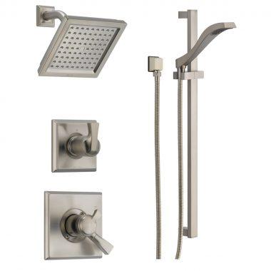 מערכת מקלחת שלמה הכוללת - מוט פינוק + צינור + מזלף + ראש ברז + אינטרפוץ ומיקסר וכל החומרה הדרושה להתקנה - גימור פלדת אל חלד גוון אפור